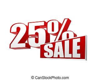 25, percentages, verkoop, in, 3d, brieven, en, blok