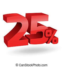 25, percento, illustrazione