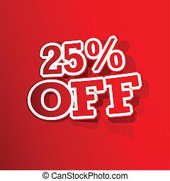 25, percento, spento, adesivo