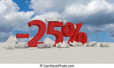 25 percents on broken ice - The voluminous figure 25...