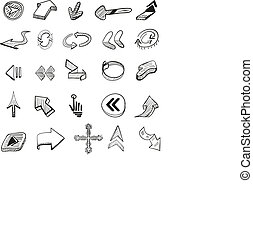 25, pfeile, hand, vektor, gezeichnet, set: