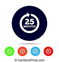 25, pieno, segno, arrow., ogni, icon., verbale, rotazione