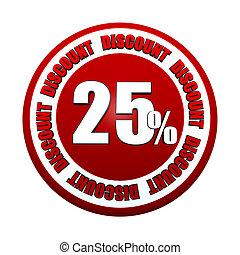 25, pourcentages, étiquette, escompte, cercle, rouges, 3d