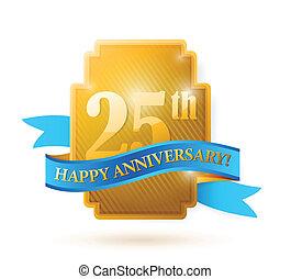 25, ribbon., dorato, anniversario, anni, sigillo