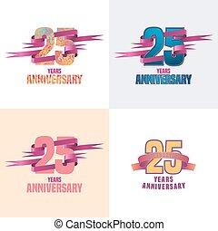 25, satz, jubiläum, jahre, vektor, ikone