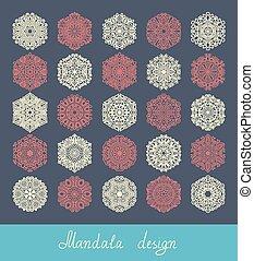 25, set, ornament, verzameling, afdrukken, cirkel, mandala, ontwerp