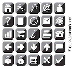 25, set, web, bottone, icone, nero