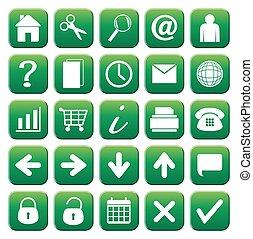 25, set, web, bottone, icone, verde