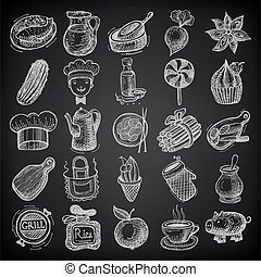 25 sketch doodle icons food on black background