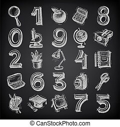 25 sketch education icons, numbers and objects on black background