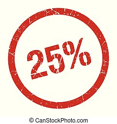 25% stamp - 25% red round stamp