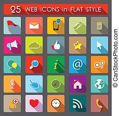 25, stile, web, icons., appartamento