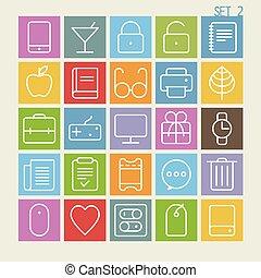 25 Trendy Thin Icons Set 2