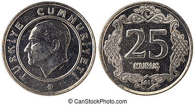 25 Turkish kurus coin, 2011, both sides