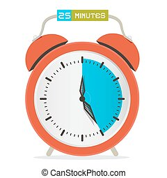 25 - Twenty Five Minutes Stop Watch - Alarm Clock Vector Illustration
