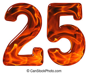 25, twenty five, numeral, imitation glass and a blazing fire...