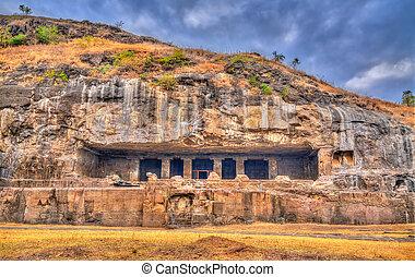 25, unesco, índia, caverna, kumbharvada, local, maharashtra, ellora, herança, mundo, complex.