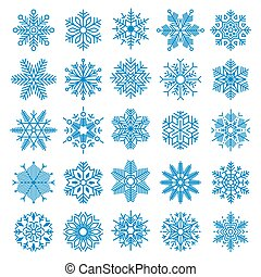 25 Vector Snowflakes Set