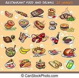 25, vektor, strava, nápoj, ilustrace, images.