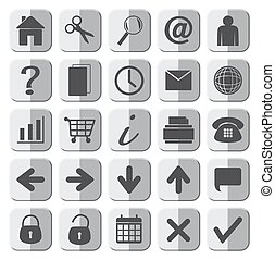 25, web, set, grigio, icone