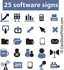 25, wektor, znaki, software