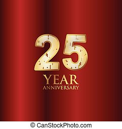 25 Year Anniversary Gold With Red Background Vector Template Design Illustration
