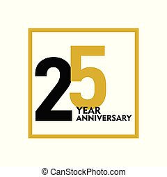 25 Year Anniversary Vector Template Design Illustration
