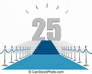 25 year anniversary with blue carpet isolated on white-...