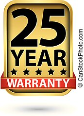 25 year warranty golden label, vector illustration