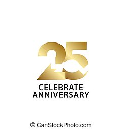 25 Years Anniversary Celebrate Gold Vector Template Design Illustration