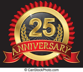 25 years anniversary golden label with ribbons, vector ...