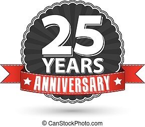 25 years anniversary retro label with red ribbon, vector illustration