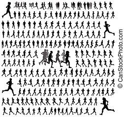 250, corredores, silhuetas, diferente, cobrança