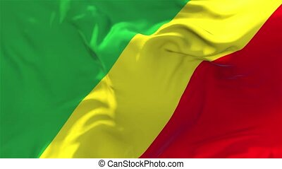 250. The Republic Of The Congo Flag Waving Continuous Seamless Loop Background.