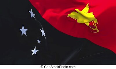 253. Papua New Guinea Flag Waving in Wind Continuous...