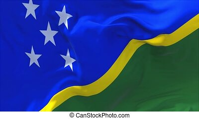 257. Solomon Islands Flag Waving in Wind Continuous Seamless Loop Background.