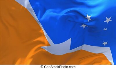 259. Tierra del Fuego Province Argentina Flag Waving Seamless Loop Background.