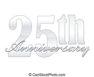 25th Anniversary - 25th year anniversary silver isolated...
