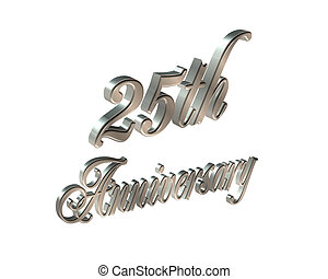 25th Anniversary 3D - Illustration 3D silver text simple...