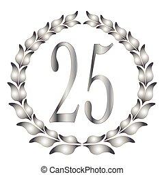 25th Anniversary - A 25th anniversary laurel over a white...