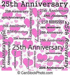 25th Anniversary Design with Pink and White Hearts Tile Pattern Repeat Background