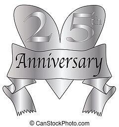 25th Anniversary Heart - 25th anniversary icon in silver...
