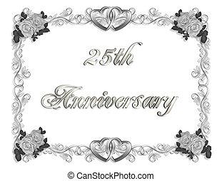 25th Anniversary - Illustration composition 3D simple design...