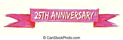 25th anniversary ribbon - 25th anniversary hand painted...