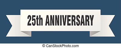 25th anniversary ribbon. 25th anniversary isolated sign....