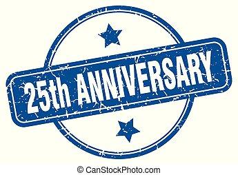 25th anniversary round grunge isolated stamp