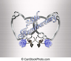 25th anniversary silver hearts - Illustration for 25Th...