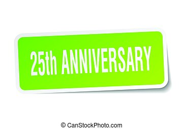 25th anniversary square sticker on white