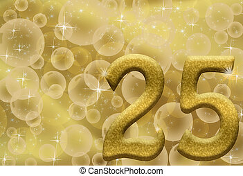 25th Anniversary - The number twenty-five 25 in gold with...