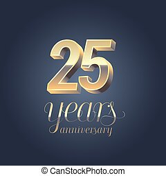 25th anniversary vector icon, logo